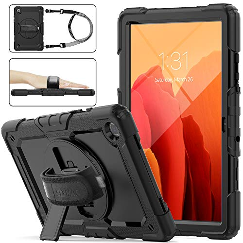 Samsung Galaxy Tab A7 Case 10.4'' 2020 with Screen Protector for Kids &Pencil Holder [360 Rotating Hand Strap &Stand], SEYMAC Stock Drop-Proof Case for Samsung Tab A7 10.4 inch T500/T505/T507 (Black)