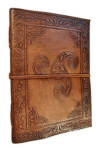 Kooly Zen - Cuaderno de notas Triskel, cuaderno de notas, diario, libro, piel auténtica, vintage, marrón claro, beige, 12,50 cm x 17,50 cm, papel reciclado premium, 200 páginas