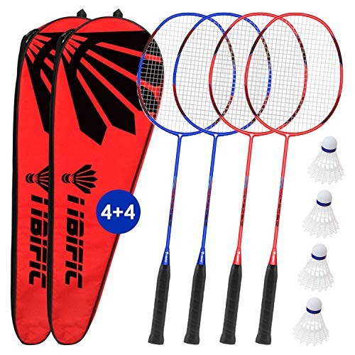 Badminton Carbon Rackets 4 Pack Set, 4 Nylon Shuttlecocks, 2 Carrying Bags, Light Fiber, Backyard Outdoor Games for Adults and Kids, for Beginners and Advanced Players