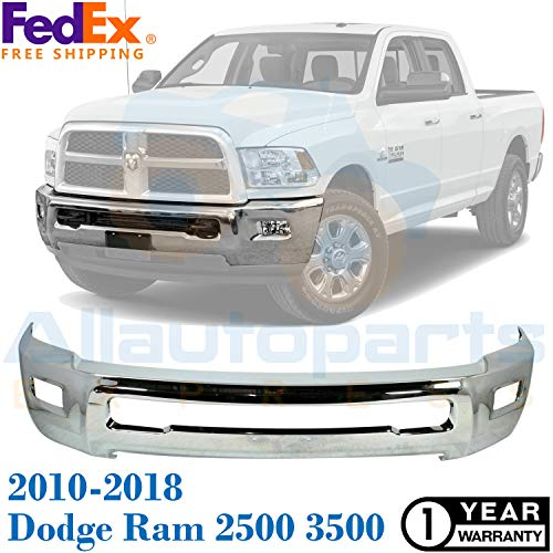 New Front Bumper Chrome Steel For 2010-2018 Dodge Ram 2500 3500 SLT/ST Laramie Extended/Standard Crew Cab Pickup With Fog Light Holes Direct Replacement CH1002390 68045698AB