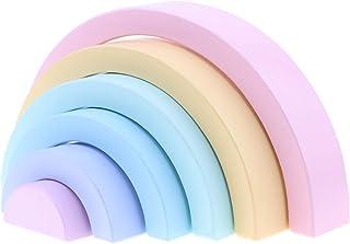 2カラー選ぶ 木製 虹スタッキング玩具 知育おもちゃ ビルディングブロック 幼児用おもちゃ - マカロン