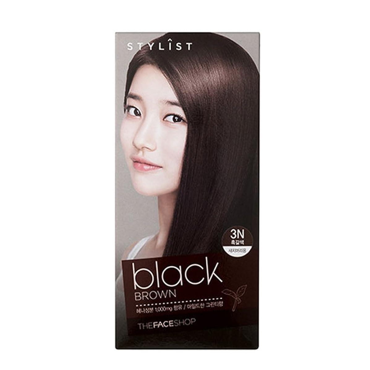 たっぷり接続スプーン[ザフェイスショップ The Face Shop] Stylist Silky Hair Dye Color Cream Black Brown