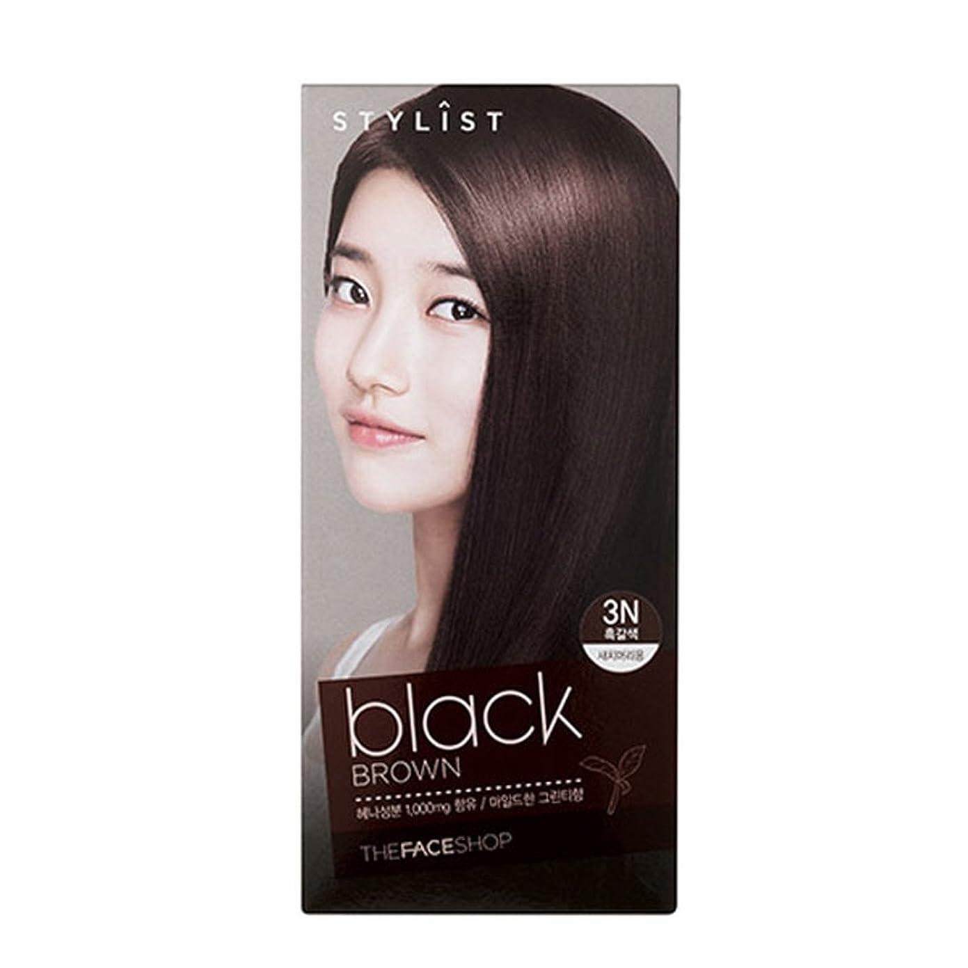 苦薄汚いバリー[ザフェイスショップ The Face Shop] Stylist Silky Hair Dye Color Cream Black Brown