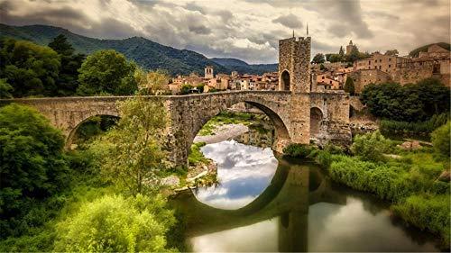 Nonebranded Rompecabezas Rompecabezas 1000 Piezas Puzzles Puente del Paisaje De Besalú, Cataluña Puzzle DIY Art