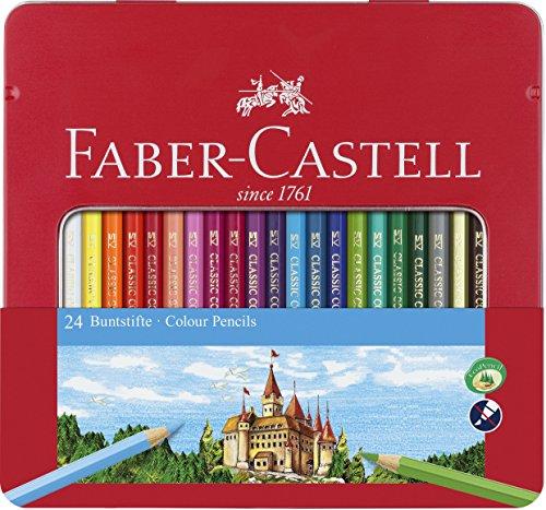 Faber-Castell 115824 - Buntstift Hexagonal, 24er Metalletui