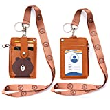 Badge Holder with Zipper, Cute PU Leather ID Badge Holder Wallet with Lanyard, 2-Sided 5 Card Slots and Key Ring for Offices ID, School ID, Driver Licence ect (Bear)