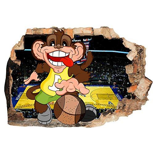 Calcomanías Etiqueta de la pared Juego de baloncesto mono deporte pegatinas de pared dormitorio niñas niños sala de estar