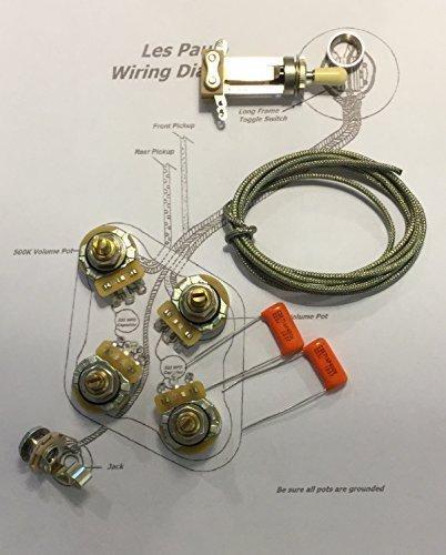 Gibson Les Paul Wiring Kit - Short Shaft - CTS 500K Pots.022uf/400v Orange Drop Caps