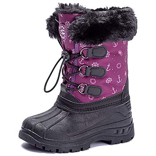 UBFEN Stivali da Neve Bambini Inverno Stivaletti con Caldo Rivestimento Interno Ragazzi Scarponi da Neve Outdoor Sneakers 38 EU B Morado