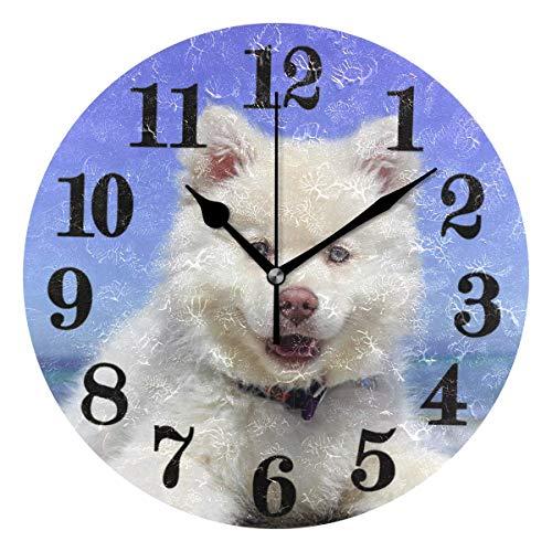 gardenia store - Reloj de Pared clásico de Cuarzo con diseño de Perro, sin Tic-TAC, Funciona con Pilas