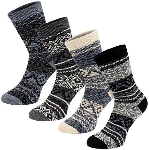 Brubaker 4 Paar Damen Norweger Socken Grau Schwarz Weiß Gr. 39-42
