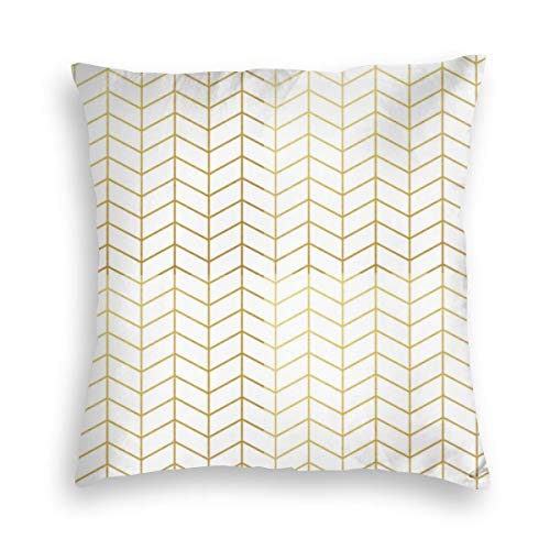 Feamo Herringbone Pattern Faux Gold Foil White Geometric Velvet Soft Decorative Square Throw Pillow Covers Cushion Case Pillowcases for Sofa Chair Bedroom Car 18X18inch