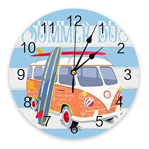 Summer Beach Cartoon Bus Reloj de pared con tabla de surf, silencioso, sin tictac, 10 pulgadas, relojes de pared redondos que funcionan con pilas para dormitorio, sala de estar, oficina, escuela, deco