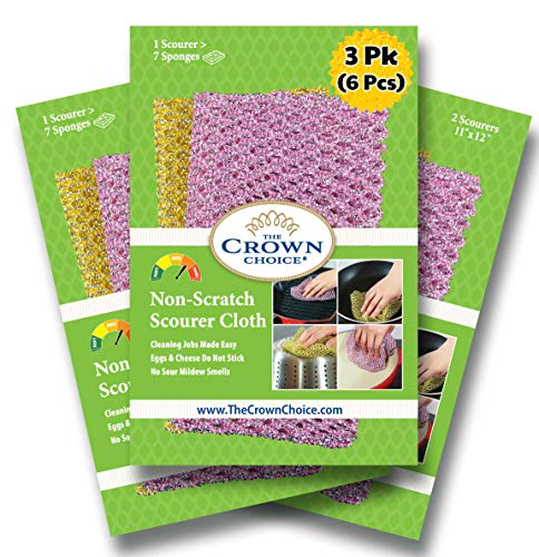 The Crown Choice Non-Scratch Heavy Duty Scouring Pad or Pot Scrubber Pads (6 PCs) | for Scouring Kitchen, Dishwashing, Cleaning | Nylon Mesh Scrubbing Scrubbies | Scrub Pads Cloth Outlast Any Sponges
