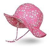 Ami&Li tots Unisex Child Adjustable Wide Brim Sun Protection Hat UPF 50 Sunhat for Baby Girl Boy Infant Kids Toddler - L: Floweret Pink