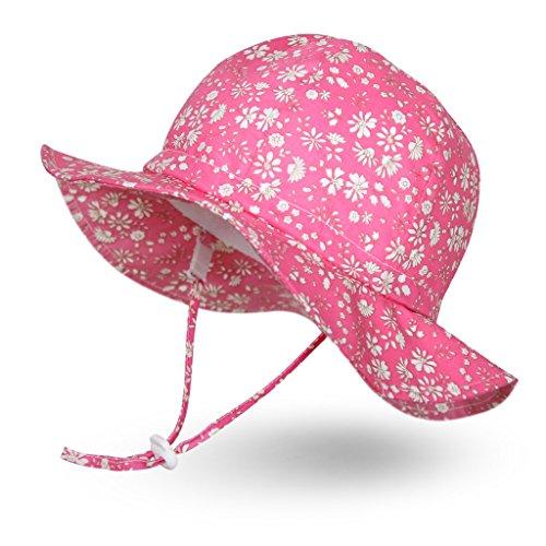 Ami&Li tots Niña Sombrero de Sol ala Ancha Ajustable Sombrero Protección Solar UPF 50 para Bebés, Niñas Niños Infantil Pequeñito Unisexo - M: Fleurette Rosa