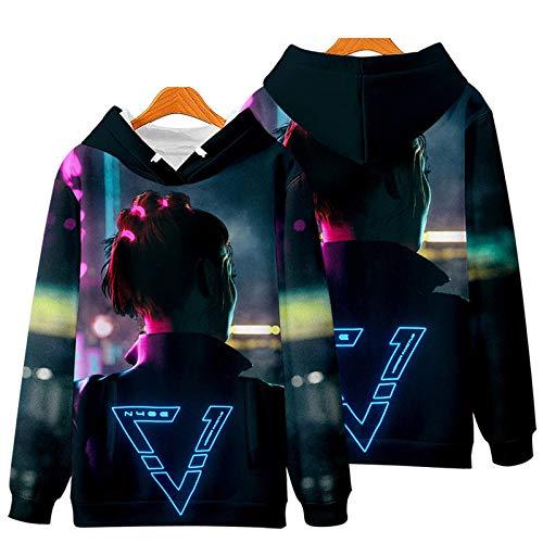 LYDF Cyberpunk 2077 Hoodie 3D Druck Herren, Cyberpunk 2077 Kleidung Herren, Herrenmode Hoodies & Sweatshirts 2XL 08 (dünn)