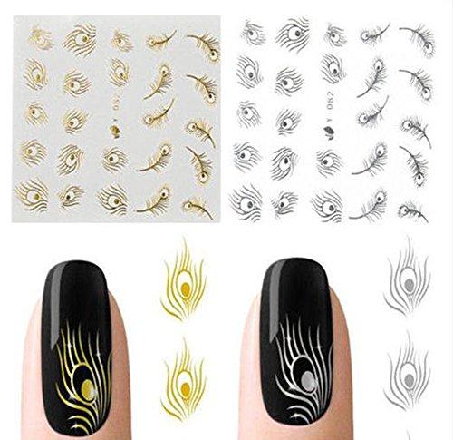 Gespout 10PCS Nail Art Autocollant Deco Nail Art Lot Stickers Pour Ongles Nail Outils Artistiques Différents Modèles Or et Argente