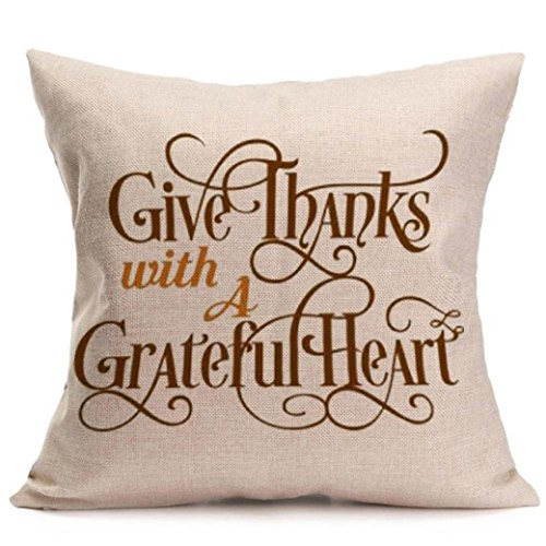 Hot Sale!!Soft Linen 18 x 18 Cushion Cover Home Decor,Happy Fall Thanksgiving Day Pillow Case (F)