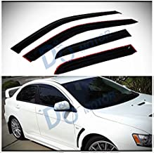 D&O MOTOR 4pcs Front+Rear JDM Smoke Sun/Rain Guard Outside Mount Tape-On Window Visors For 08-17 Mitsubishi Lancer/Evolution X 10 4-Door Sedan
