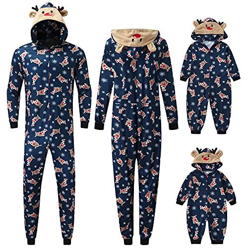 JPLZi Family Matching Pajamas Set Matching Christmas pjs for Family Couples Christmas Pajamas Set One-Piece Hooded Outfits(03#Navy,Medium)