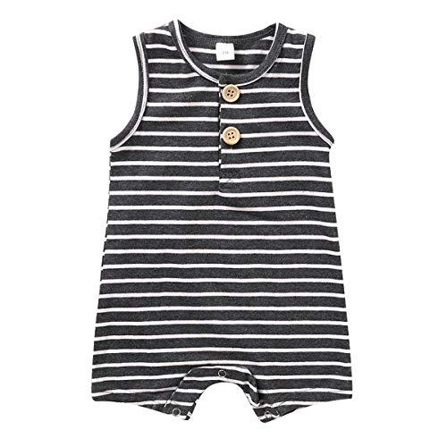 Tianhaik Bébé Barboteuse Unisexe sans Manches Rayé Combinaison Globale Tenues Garçons Filles Été Décontracté Body Vêtements