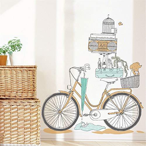 CZJOY Bicicleta Vintage Pegatinas de Pared,Vinilo Extraíble Hogar Pegatinas Decorativas Etiqueta de la Pared para Habitación Guardería Infantiles Niños Bebés Kindergarten Dormitorio Salón - TZ201806
