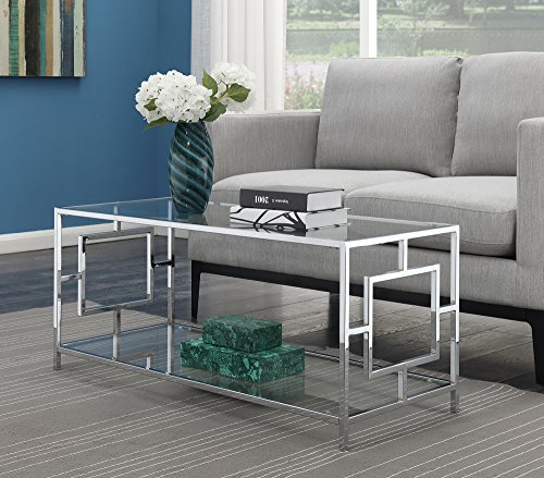 Convenience Concepts Town Square Chrome Coffee Table, Clear Glass / Chrome Frame