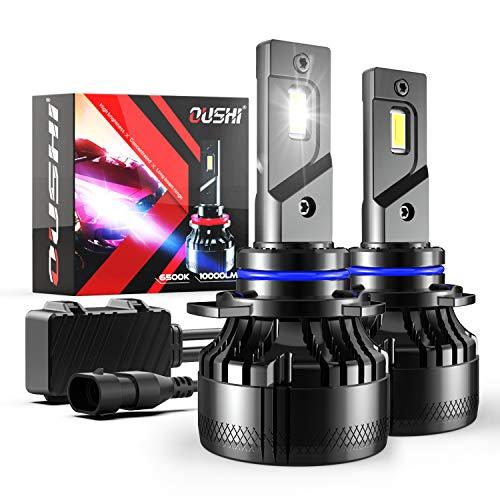 Bombilla 9012 HIR2 LED Coche, OUSHI 110W 2x10000LM 6500K Xenon Blanco 12V Súper Brillante LED Bombillas Faros Delanteros para Coches Kits de Conversión (Paquete de 2)