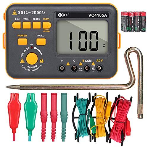 VC4105A Durable Polvo y Humedad Prueba Digital Terrestre Resistencia Multímetro LDC Display AC Voltaje Meter Resistencia Tierra Probador