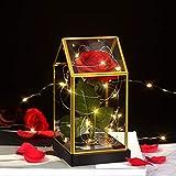shirylzee Ewige Rose im Glas, Die Schöne und das Biest Rose in Dreieck Glaskuppel Künstlich Rosenbox mit 2 Modi LED-Licht Geschenk für Party Hochzeit Dekor Valentinstag Muttertag Jubiläum (Rot)