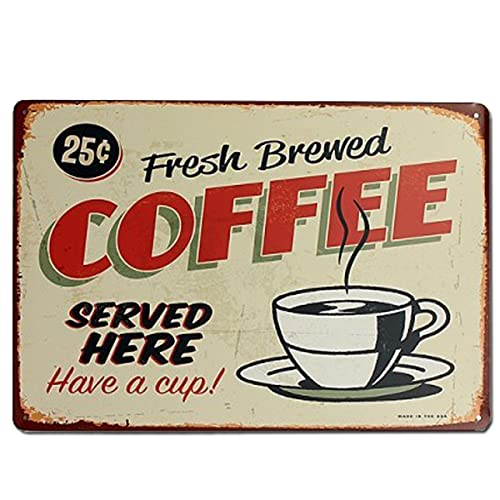 Targhe Decorativo Vintage Caffè   Targa Decorativa in Metallo [Con Rilievo e Autoinstallabile] per caffetteria, Bar, Ristorante, Cucina o Sala da Pranzo   20 x 30 cm.