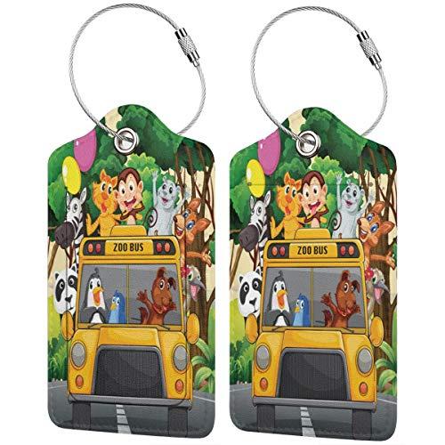 VORMOR Etiquetas para Equipaje,Zoo Animales Globos Bus Viaje Imprimir,2 Piezas Etiquetas de Equipaje de Viaje Etiquetas de Identificación de la Maleta para Maletas,Mochila