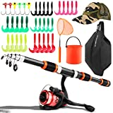 Kids Fishing Pole, Telescopic Fishing Rod Spinning Reel Combos with Fishing Net, Fishing Hat, Foldable Pail Bucket, Lure Kit, Travel Bag, Beginners Fishing Gear for Boys, Girls, Youth (Red)