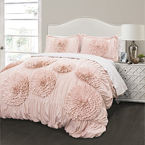 Lush Decor Serena Comforter Pink Blush Ruched Flower 2 Piece Set, Twin XL