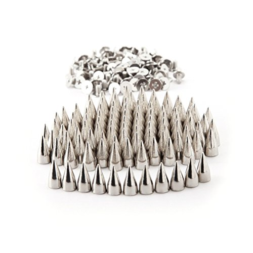 100 st 7 x 14 mm metallkon spikar skruvörhängen gör-det-själv läder hantverk punk stil nitar (silver)