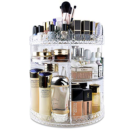 InnSweet 360 Rotating Makeup Organizer, Adjustable Cosmetic Storage Display Case with 8 Layers, Large Capacity Cosmetic Shelf, Acrylic Transparent