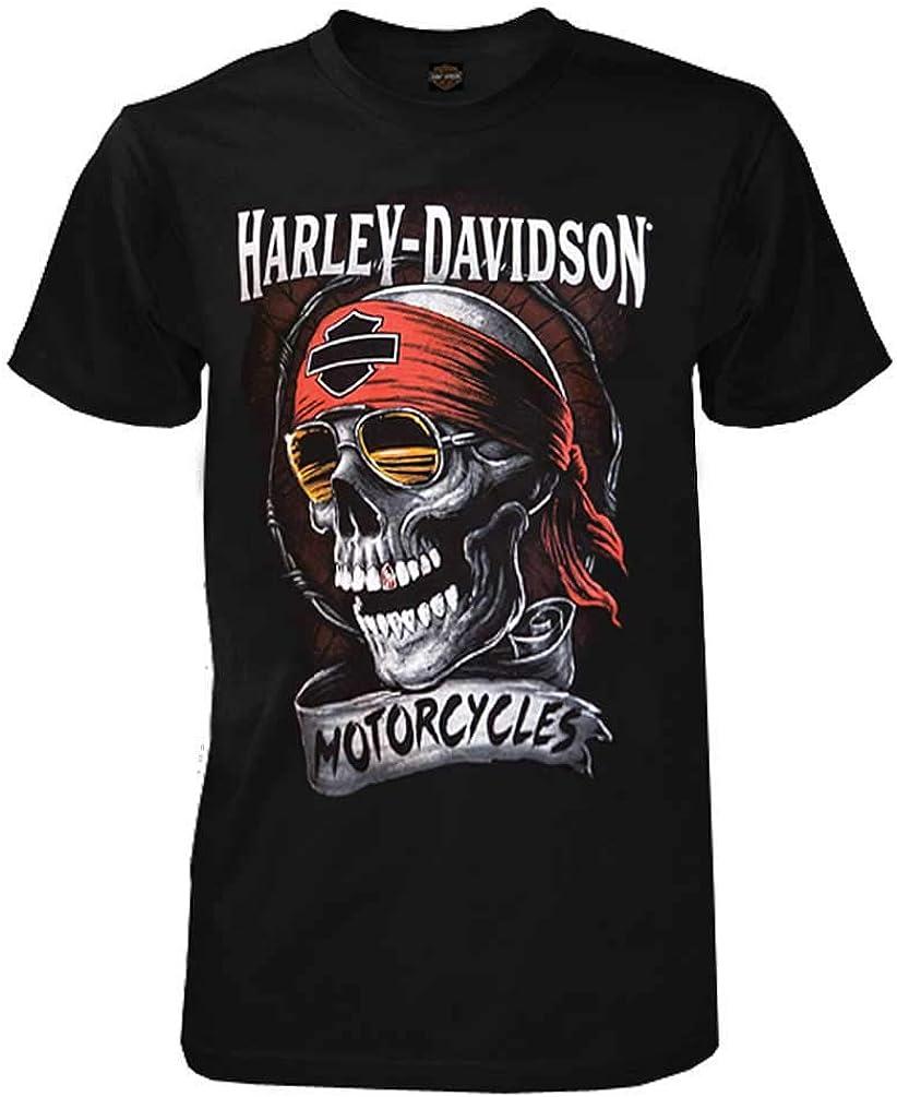 Harley-Davidson Men's Distressed Shady Skull Short Sleeve T-Shirt, Solid Black