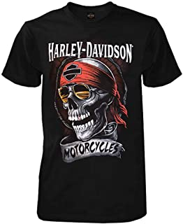 Harley-Davidson Men's Distressed Shady Skull Short Sleeve T-Shirt, Solid Black