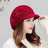 SUNXK Bonnet coréen en tricot de perles pour l'automne et l'hiver - Chapeau Shibei Lei pour garder au chaud en fourrure de lapin (couleur : rouge vin, taille : unique)