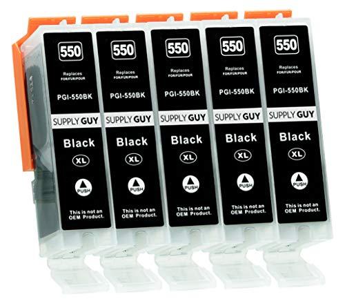 Supply Guy 5 Druckerpatronen mit Chip kompatibel mit Canon PGI-550 PGBK Schwarz für IP-7250 IP-8750 IX-6850 MG-5450 MG-5550 MG-5650 MG-5655 MG-6350 MG-6450 MG-6650 MG-7150 MG-7550 MX-725 MX-925