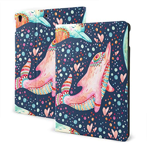 Unique Ipad Covers 2019 Ipad Air3/2017 Ipad Pro 10.5 Inch Case/2019 Ipad 7th 10.2 Inch Case Watercolor Lovely Dolphins Seamless On Bac Ipad Cover Protector Auto Wake/sleep