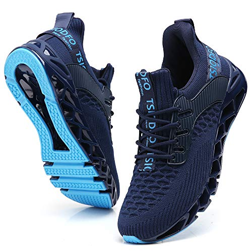 TSIODFO Sneakers for Men Slip on Fashion Casual Sport Running Tennis Athletic Walking Shoes Gym Runner Trail Shoes Non-Slip Jogging Shoe Navy Blue Size 12.5