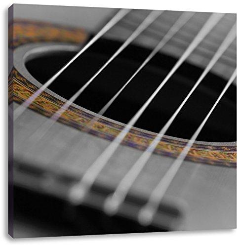 Geluid gat van een akoestische gitaarCanvas Foto Plein | Maat: 60x60 cm | Wanddecoraties | Kunstdruk | Volledig gemonteerd