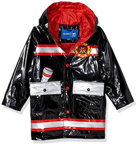 Wippette Boys' Toddler Water Resistant Rain Jacket, Black, 4T