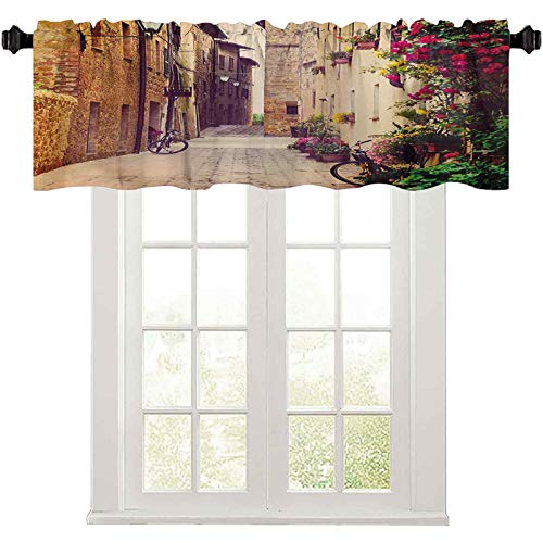 """Kitchen Window Valance, Street in Pienza Tuscany Italy with Hanging Basket Plants Flowers Bicycles Picture, 36"""" W x 18"""" L Curtain valances for Windows, Red Green"""