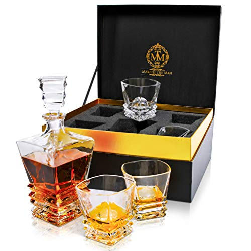 Premium Art Deco Whiskey Decanter And Glass Set. 27oz Scotch Decanter In Unique Stylish Gift Box. Bourbon Decanter For Men. Genuine Lead Free Crystal Liquor Decanters For Alcohol Designed In Europe.