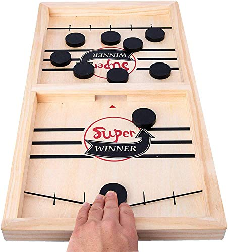 Fun Board Games Slingpuck Game Toy, Table Desktop Battle Ice Hockey Game/Winner Board Games, Wooden Hockey Game Sling Puck,Adults and Kids Family Games, Slingshot Game Toys