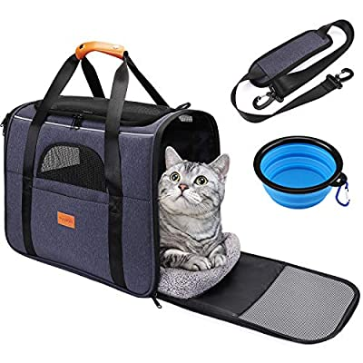 pueikai Pet Carrier Bag, Portable Breathable Pet Travel Bag for Cat and Dog of 15 lbs, Airline Approved Cat Carrier Travel Bag with Safety Inner Leash, Foldable Bowl, Washable Soft Mat