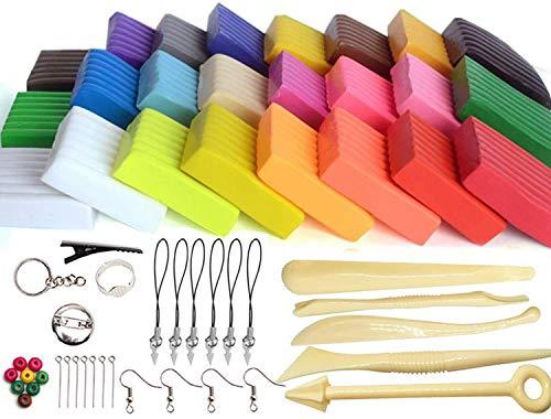 YIQI Arcilla Polimérica, 24 Colores Horno Modelo Horno Arcilla DIY Moldeado Suave Arcilla Artesanal con Herramientas de Modelado y Accesorios Mejor Regalo para Ni?os